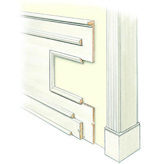 Wainscoting: Originally functional as well as decorative, wainscoting covers only part of a wall. High wainscoting covers two-thirds and low wainscoting goes about halfway up the wall or lower, often to chair rail height.