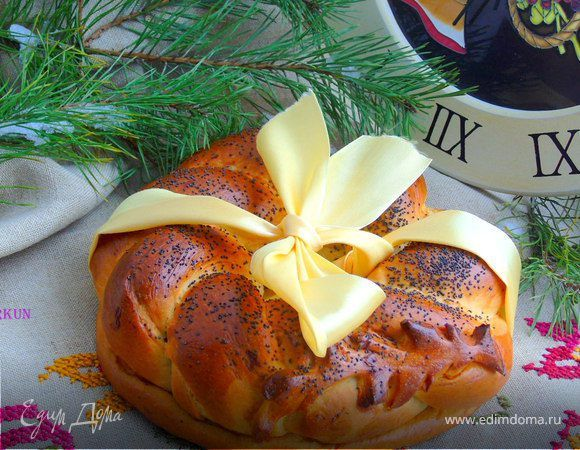 Рождественский калач. Ингредиенты: сахар, дрожжи сухие, соль