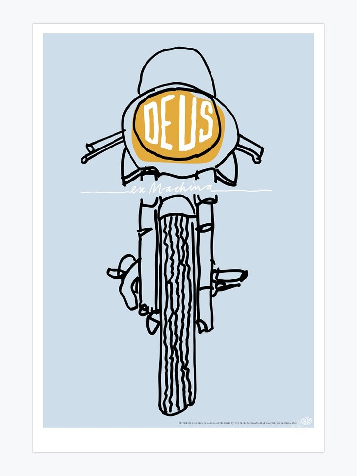 """Deus Ex Machina poster  this piece is simple and straight to the point. the hand drawn image and """"hand written"""" text maintain the tactile ethos of deus."""