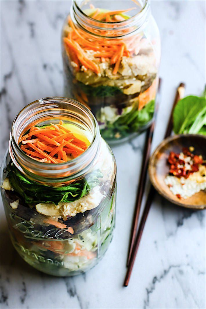 Easy Oriental Chicken Bok Choy Mason Jar Salads! Light, Gluten Free, and Paleo friendly oriental style mason jar salads that are great for lunch or dinners on the go! Perfect use of leftover vegetables and grilled or stir fried chicken as well. Portable H