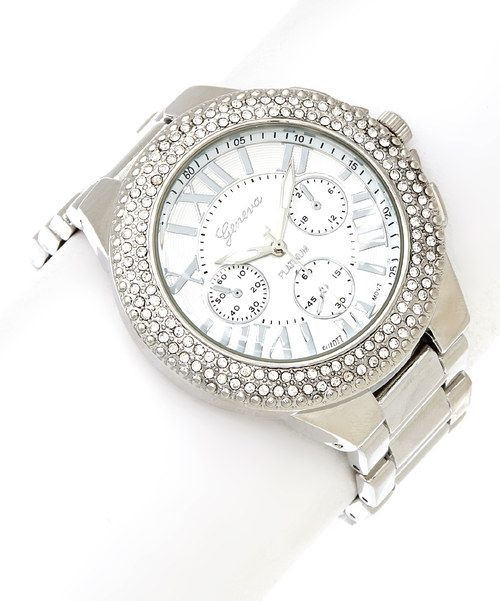 Take a look at the Silver Stone Shimmer Watch on #zulily today!