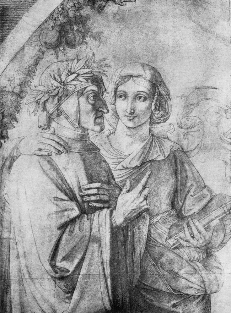 FEMALE BEAUTY IN ART — Beatrice and Dante by Peter von Cornelius, 1818