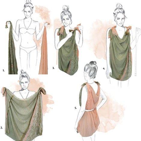 Vestido con pañuelos; paso a paso. Para hacerte este vestido, necesitarás dos pañuelos con estampados diferentes y de igual tamaño. Une los dos pañuelos con nudos solo por un extremo y mete la cabeza por el hueco entre ellos. Cosmopolitan.