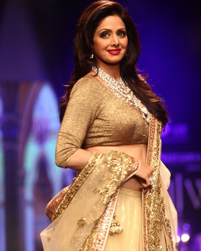 Sridevi walked the runway in a pretty Vikram Phadnis creation and teamed it with a layered diamond neck-piece.