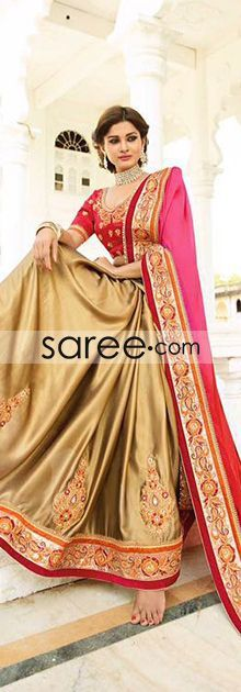 Pink and Golden Ombre Crepe Chiffon Saree With Patch Work