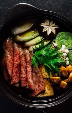 WAGYU SUKIYAKI [Japan] [Hideki Hiwatashi] [greatbritishchefs] [nabemono, hot pot, steamboat, ya-hon, huo guo, thai suki, lau, cu lao, mookata, jeonkol, chongol]