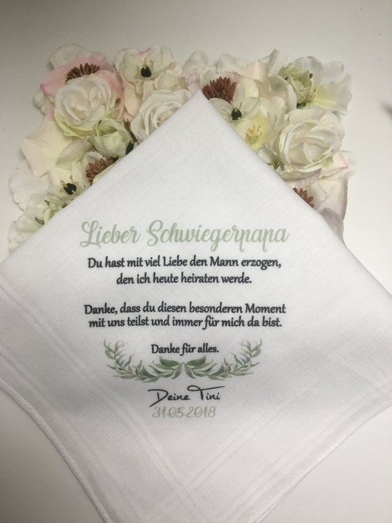 Handkerchief Printed According To Wunsch For The Mother In Law Bridal Mother Bride S Father Father In Law Sister Great Gift Wedding Taschentucher Hochzeit Taschentucher Tolle Geschenke