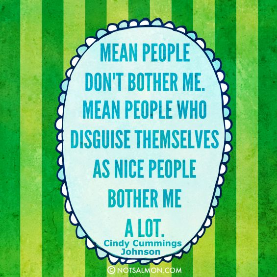 Mean people don't bother me. Mean people who disguise themselves as nice people bother me a lot.