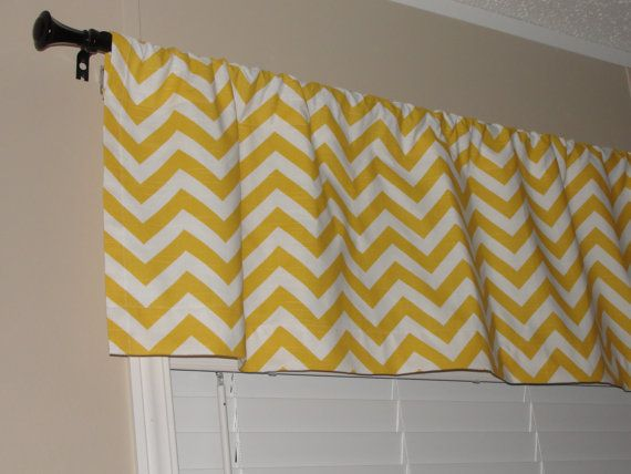 "Premier Prints Yellow Chevron Valance 50"" wide x 16"" long Zig Zags Lined with Cotton Muslin Yellow White. $35.00, via Etsy."