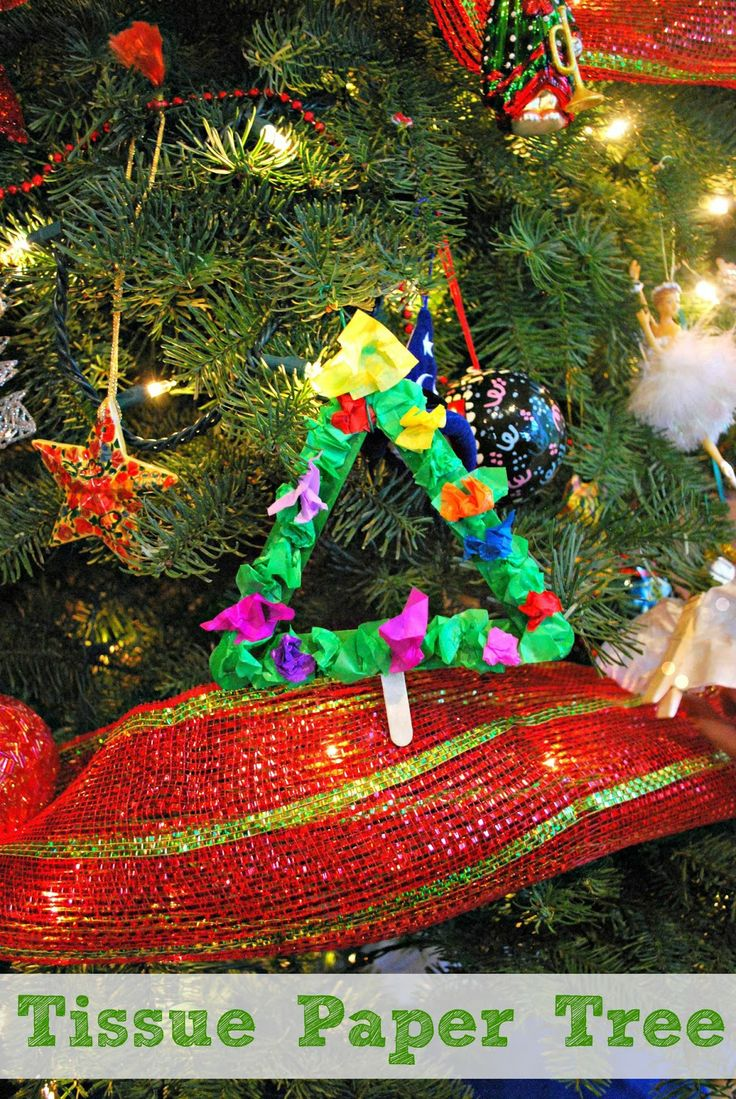 Christmas Tree Ornament - Easy to make using tissue paper and popsicle sticks.