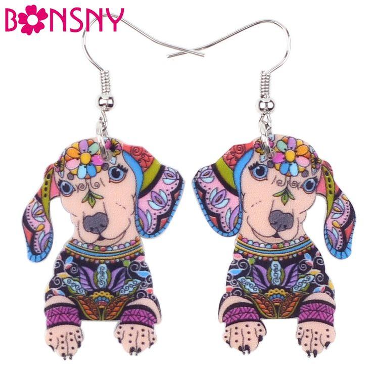 Bonsny Drop Dachshund Dog Earrings Big Long Dangle Earring Acrylic Pattern Fashion Jewelry For Women 2015 New Style Girl