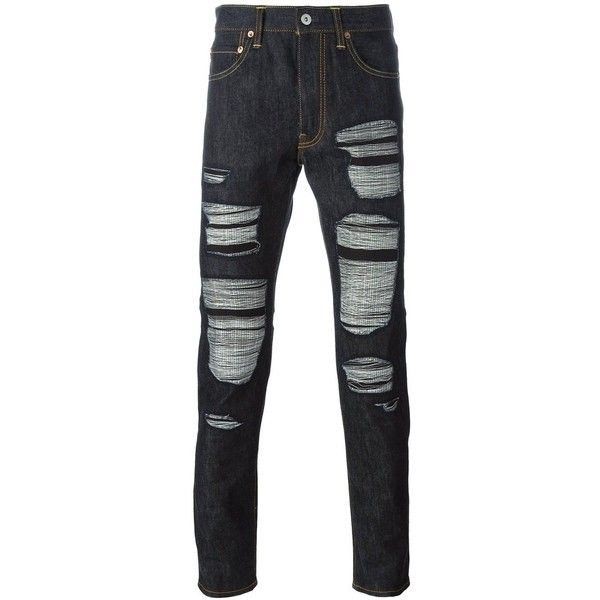 Junya Watanabe Man X Levi's patch pocket ripped jeans ($1,050) ❤ liked on Polyvore featuring men's fashion, men's clothing, men's jeans, blue, mens torn jeans, mens ripped jeans, mens distressed jeans, mens leather jeans and mens blue jeans