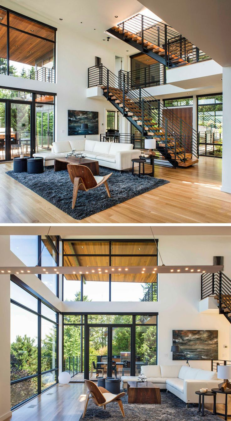 Inside, this home really opens up, with a double height ceiling and a living room with idyllic views. Just off the living room is an outdoor dining and BBQ area.