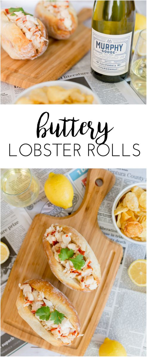 Bring the east coast tradition of a lobster roll to wherever you are with this buttery lobster rolls recipe! Served with @murphygoodewine Chardonnay.