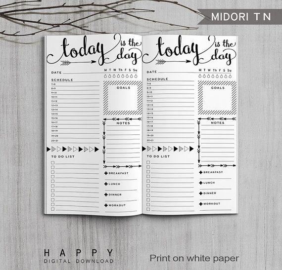 Printable Daily Planner Bullet Journal, Midori Daily Planner, Printable Midori…