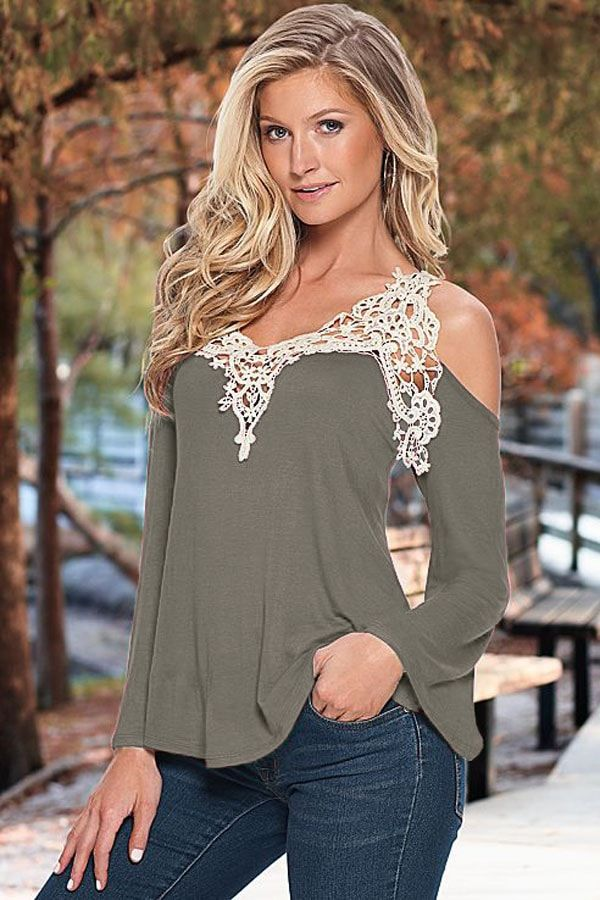 Off The Shoulder Gray Women Going Out Tops,please click it for details.