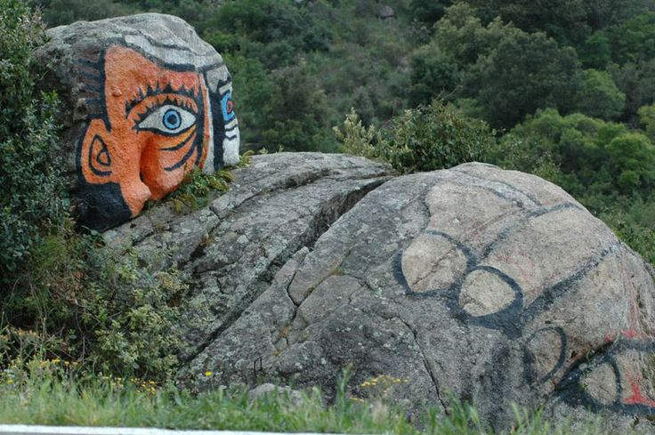 Murales on a rock near #Orgosolo, inland Sardinia.