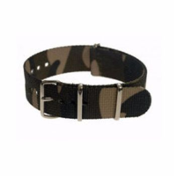 MWC Watches Camouflage 20mm Multirole Nato Watch Strap: The 20mm NATO Watch Straps from MWC (Military Watch Company) are made from washable and fast drying ballistic nylon webbing, with stainless steel buckles. These watch straps fit on all MWC watches and with other brand's military watches of similar size.