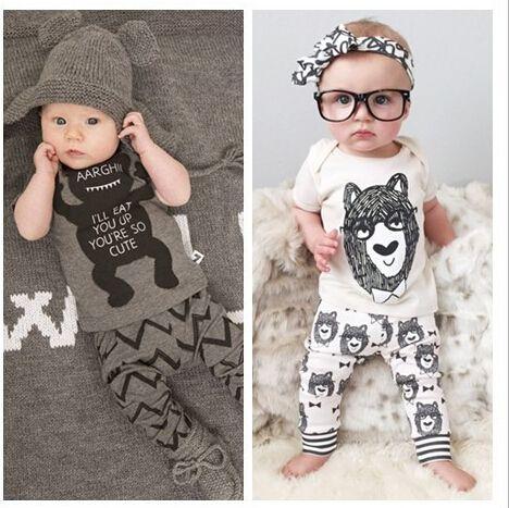 Весна младенческой одежда комплекты одежды для новорожденных мальчик хлопок маленькие монстры короткий рукав 2 шт. мальчик одежда #jewelry, #women, #men, #hats, #watches, #belts