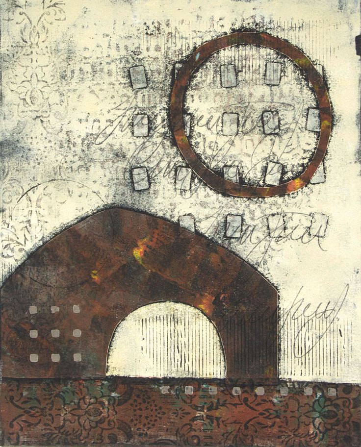 """Close to Home 2, by Anne Moore, monotype, 16""""X 13"""""""