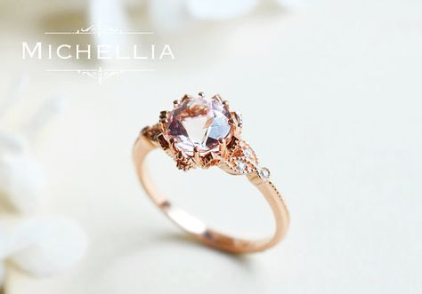 Evanthe Morganite Engagement Ring, Vintage Floral Ring in Morganite, Rose Gold Floral Engagement Ring, in 14K 18K Gold, Platinum, R2001