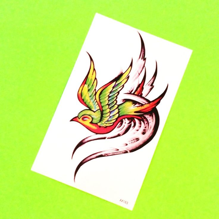 New School Swallow Temporary Tattoo