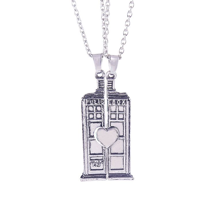 dr doctor who necklace tardis police box vintage double heart antique silver pendant jewelry for lovers and couples wholesale
