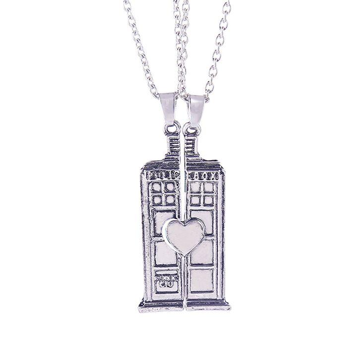Dr arts die ketting tardis politie doos vintage dubbele hart antieke zilveren hanger sieraden voor liefhebbers en koppels groothandel