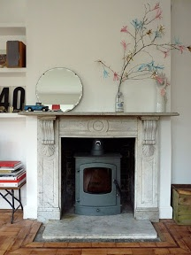 Stove inside old fireplace...best of both.