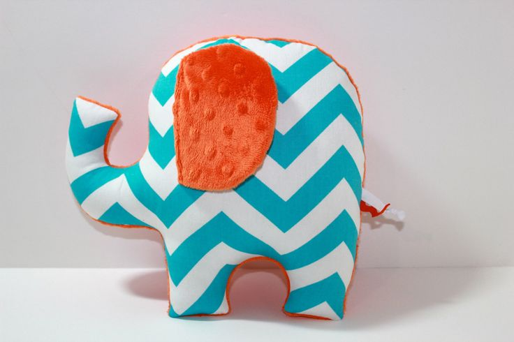 Turquoise blue orange nursery baby decor,  modern chevron elephant pillow, stuffed plushie sensory toy, shower gift by LilKingdom on Etsy https://www.etsy.com/listing/120680545/turquoise-blue-orange-nursery-baby-decor