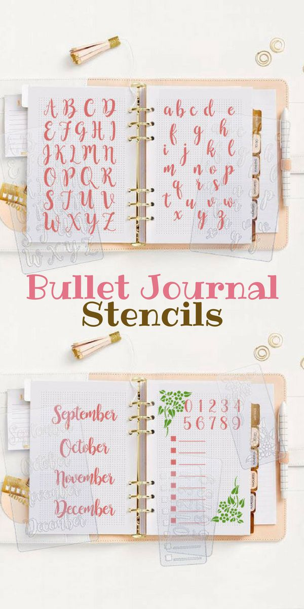 I love how Bullet Journal Stencils help me decorating my journal planner, easy to use and have many shapes that make my journal planner more creative and beautiful | Bullet Journal Ideas | Bullet Journal Starter Kit | Planner Stencil Letters Alphabet Months Days Week Calendar Calligraphy Floral #Ad