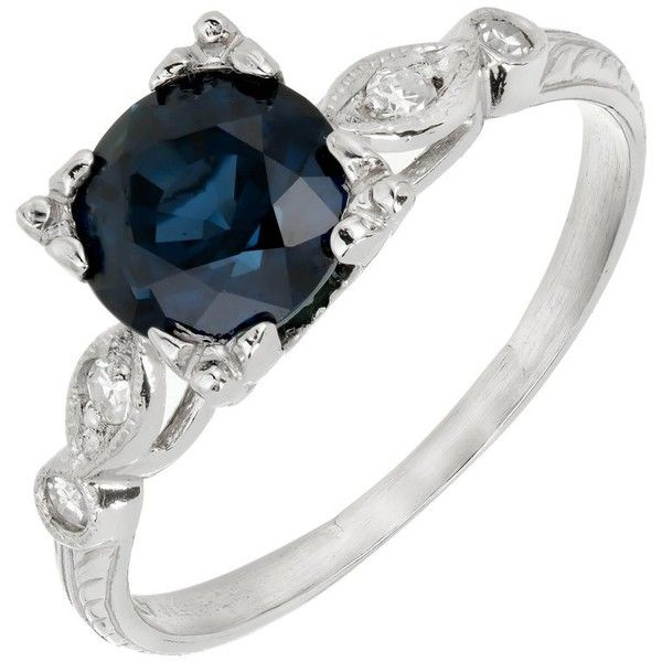 Preowned Gia Certified 1.76 Carat Art Deco Sapphire Diamond Platinum... (37.040 NOK) ❤ liked on Polyvore featuring jewelry, rings, blue, engagement rings, blue engagement rings, diamond rings, pre owned diamond rings, pre owned engagement rings and art deco engagement rings