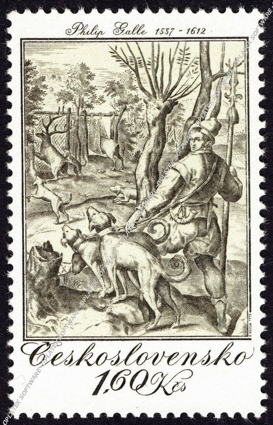 ČSR post stamp Philip Galle: Lov na jeleny, mědiryt, 1578
