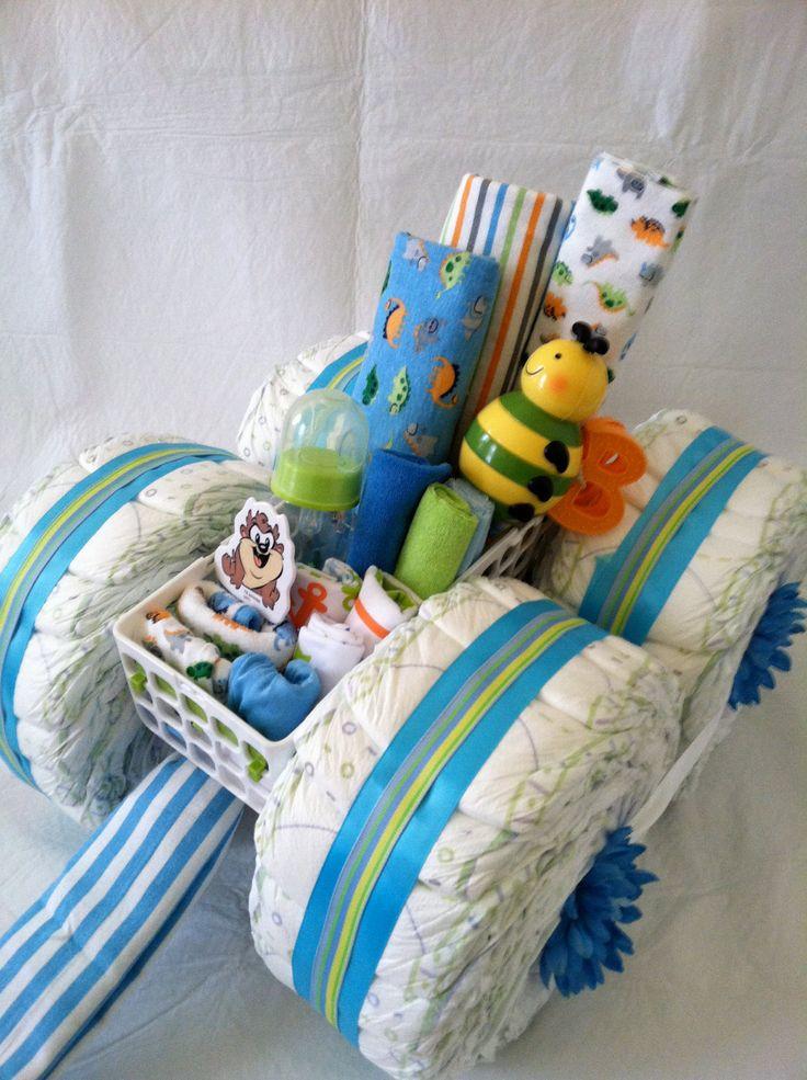 Boy Diaper Cake - Diaper Wagon. $85.00, via Etsy.