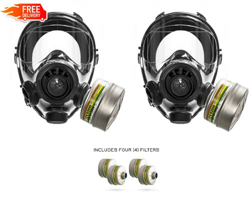 Two SGE 400/3 BB Tactical Gas Masks + Four Multipurpose A2B2E2K2P3 Filters