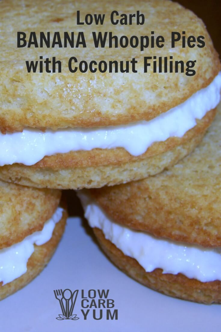 Tasty low carb banana whoopie pies combines two tropical flavors in one delicious treat. A sugar free coconut filling is sandwiched between two banana cakes. | LowCarbYum.com via @lowcarbyum