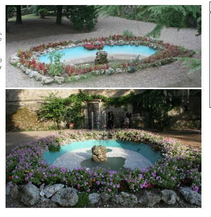 Pond  with fountain decoration- not the actual pond of the castle.  the actual pond is bordered with low hedge with evergreen and during spring/summer will be enhanced with roses in pink and white