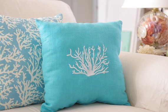 Beach Decor Turquoise Blue Throw Pillow Linen Coral