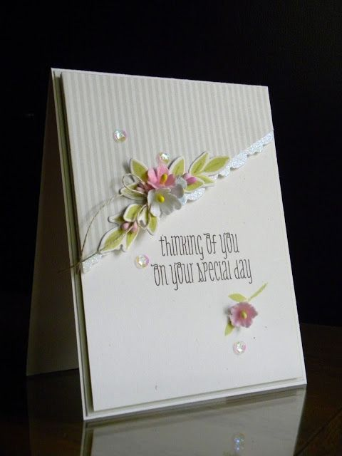 paper wishes/Geri Freeman using striped vellum, Wplus9 freshcut florals and paperflowers/centers. Lovely!
