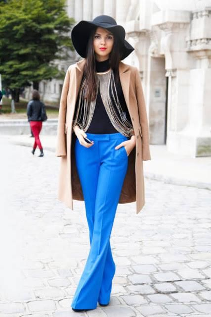 Electric blue pants + dramatic accessory = #fashion #perfection
