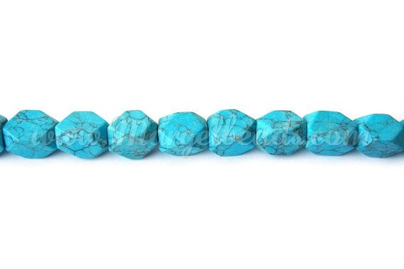 €4.00 1 Strand Turquoise Blue Rectangular Faceted Howlite by Margelbeads