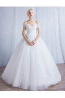 Tulle Off-the-Shoulder Floor Length Ball Gown Dress with Pearl