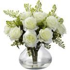 Rose and Maiden Hair Arrangement with Vase, White