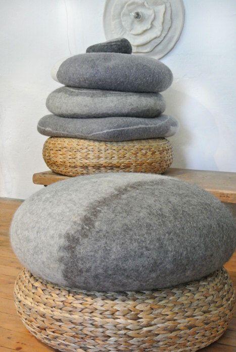 samesch felted wool stone - felt pebble pouf - 60x20cm - handmade felt pebble filled with spelt husks by samesch on Etsy