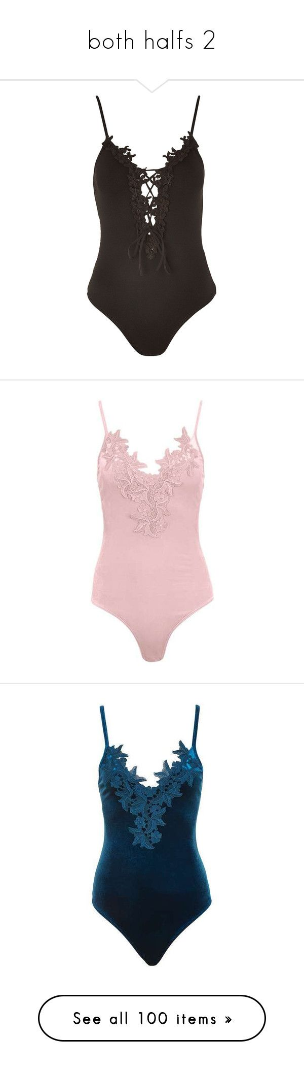"""""""both halfs 2"""" by dramaqueensmilez ❤ liked on Polyvore featuring intimates, shapewear, black, body, bodysuits, topshop, bodysuit, tops, swimwear and one-piece swimsuits"""