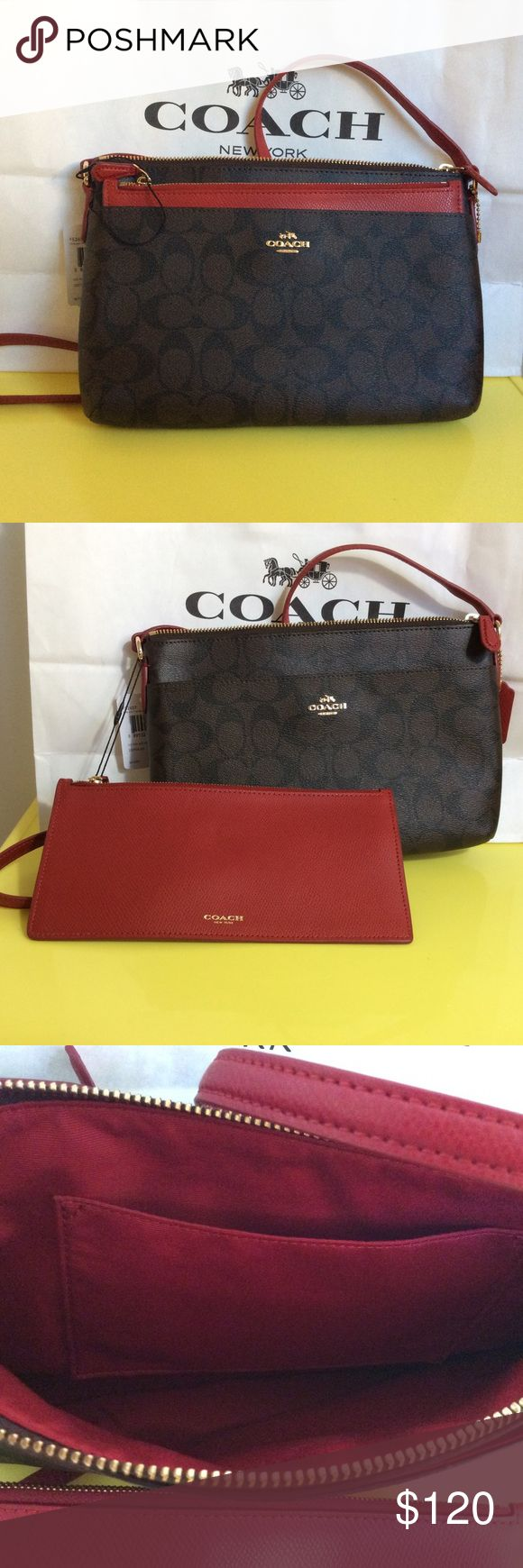 "Coach Signature Crossbody Bag Detachable Pochette 100% Authentic. Brand new with tag. Comes with detachable red clutch. Adjustable strap. Measurements: 10"" L x 1.5 "" W x 7"" H Coach Bags Crossbody Bags"