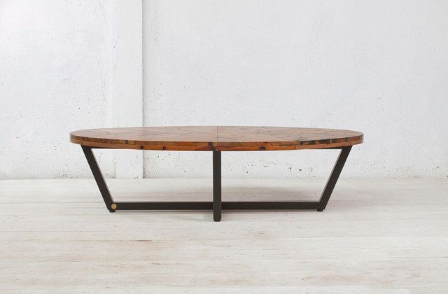 Danish Modern Oval Coffee Table Wood Reclaimed Metal Mid Century Round Natural Diy Contemporary Tables