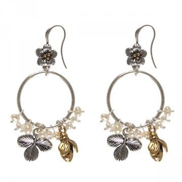 Hultquist-Copenhagen Wild Strawberry Earrings - BiColour  Stylish & delicate are these gorgeous earrings from Hultquist-Copenhagen's Wild Strawberry collection.  With a bicolour combination of gold & silver & mini white fresh water pearls, these earrings will give your Summertime outfit that extra feminine touch.  Length 6.5cm.