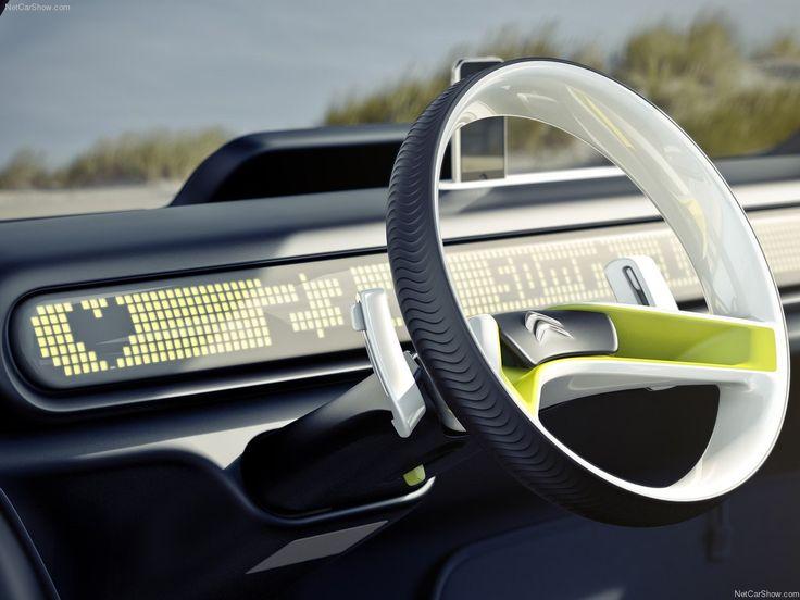 Citroën Lacoste concept green light white black simple 2 deep car steering wheel interior digital dashboard