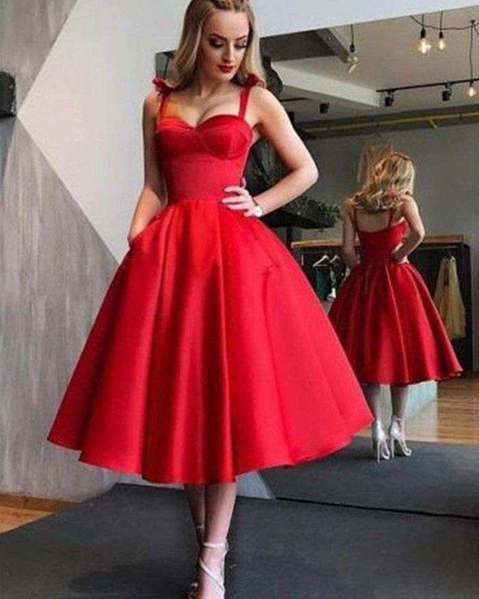 4d2549f0b square red satin homecoming dress with pockets, ankle length simple formal  dresses #homecoming #reddress